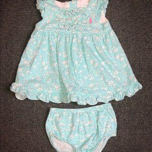 Ralph Lauren Baby Girl Flower Dress Set Blue White
